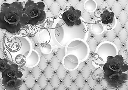 wandmotiv24 Fototapete grau Rosen Ornamente Polster Perle XXL 400 x 280 cm - 8 Teile Tapete, Vliestapete, Fototapeten, Wandbild, Motiv-Tapeten 3D Kreise Wasser Blumen Leder M3444 -