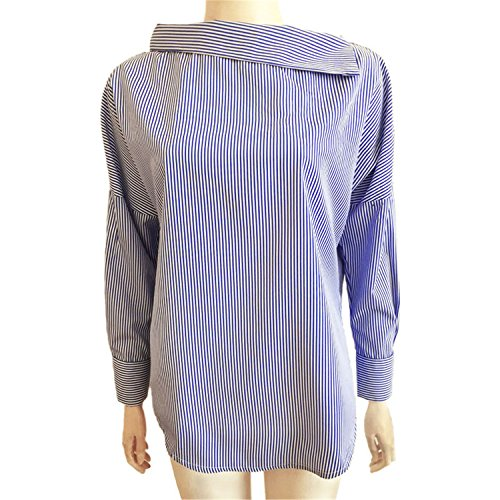 NEW Spring Women's Striped Sexy Oblique Collar Shirt Loose Long-sleeved Women Bat Sleeve Size Blouse Shirts Tops Blue M (Texas A&m-jersey-material)