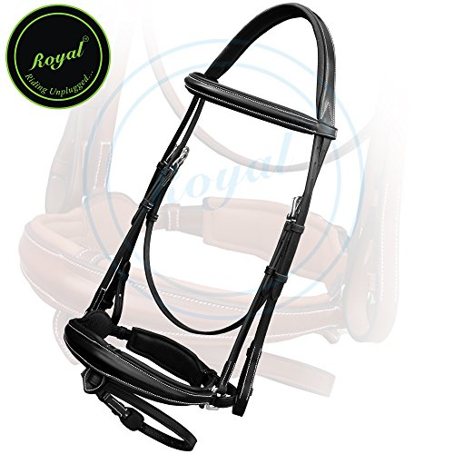 Royal Padded Drop Dressage Bridle with Flash with PP Rubber Reins./ Vegetable Tanned Leather./ Stainless Steel Buckles.