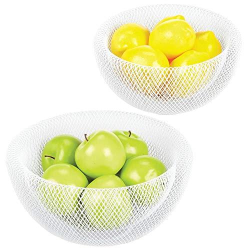 mDesign Juego de 2 fruteros de cocina - Elegantes cestas de frutas y verduras de malla de alambre con pared doble - Frutera metálica en tamaño grande y pequeño - blanco