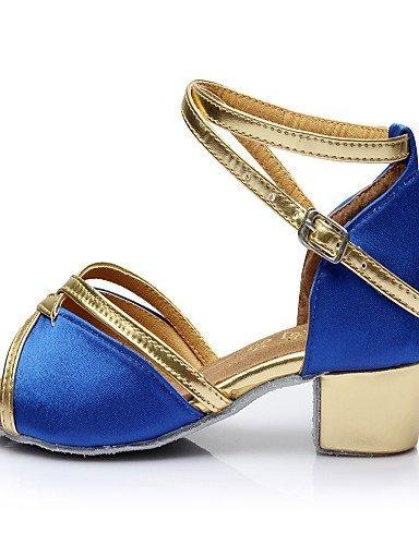 ShangYi Chaussures de danse(Noir / Bleu / Marron / Rouge / Argent / Or) -Non Personnalisables-Talon Bas-Similicuir-Ventre / Ballet / Latine / Gold