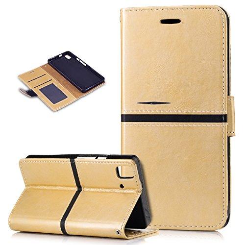 Kompatibel mit BQ Aquaris E5s Hülle,PU Lederhülle Flip Hülle im Bookstyle Ständer Wallet Soft Silikon Magnetverschluss Kunstleder Handy Hülle Tasche Handy Tasche Schutzhülle für BQ Aquaris E5s,Gold