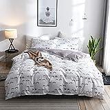 TINE Sets de Housse de Couette + taies d'oreillers 50x70cm Blanc Parure de Lit pour...