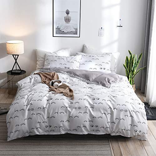 TINE Bettbezug Set, Polyester Modern Style 2/3-teiliges Set Bettbezug mit Reißverschluss Schließung mit Kissenbezug Bettwäsche-Set Super Weiche für Männer und Frauen,135x200cm