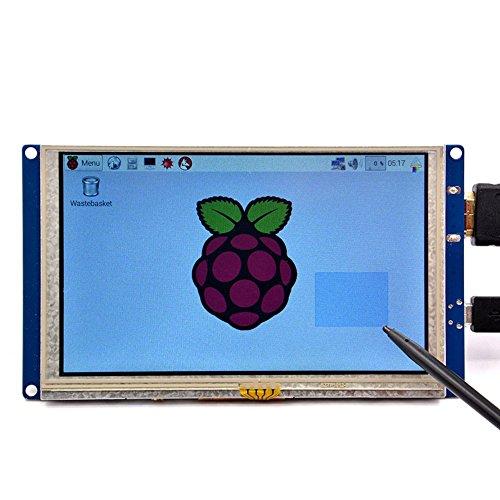 GeeekPi 5 inch HDMI Monitor LCD Resistive Touch Screen 800x480 LCD Display USB Interface for Raspberry Pi 3 / 2 Model B / B+ & Banana Pi ( Plug and Play Free Driver )