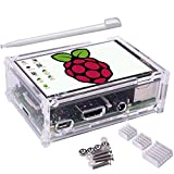 Longruner 3.5 Inch Touch Screen 320*480 TFT LCD Display for Raspberry Pi 3 Model B 2 B B 1 Model A A+ with Protective Case + 3 x Heat sinks+ Touch Pen