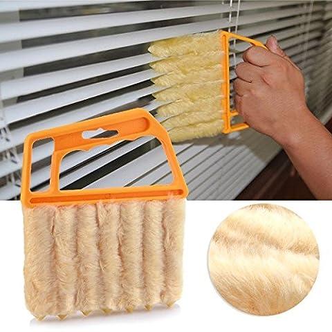 Generic Jaune: 1pièce en microfibre vénitien Window Cleaner brosses de nettoyage et des outils Store fenêtre de brosse climatiseur Plumeau Nettoyage Cleaner
