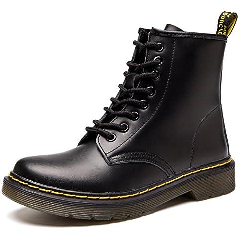 JACKSHIBO Damen Mode Leder Knöchel Boots Winter Kampf Stiefel,Shoe Width:1.5/Normal,No samt,Schwarz,EU 40
