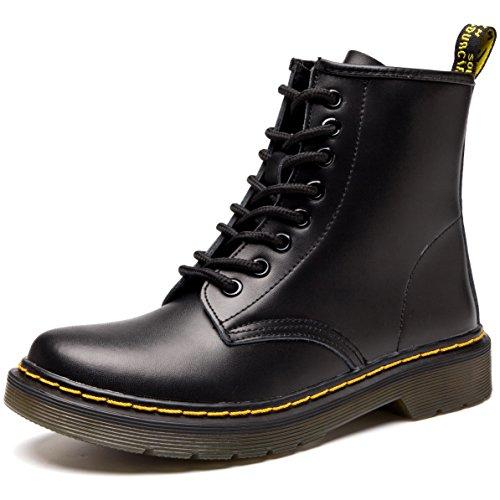 JACKSHIBO Damen Mode Leder Knöchel Boots Winter Kampf Stiefel,Shoe Width:1.5/Normal,Plus samt,Schwarz,EU 40