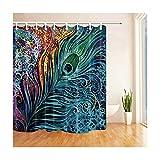 Daesar Anti-Schimmel Duschvorhang 180x210 Pfauen Federn 3D Vintage Duschvorhang aus Polyester-Stoff