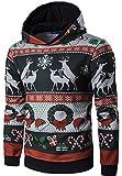 Ghope Herren Weihnachtspullover mit Rentier Streifen Druck Kapuzenpullover Sweatshirt Weihnachten Langarm Top Shirt Herbst Winter Spaß Mode, Schwarz EU M(Asien XL)