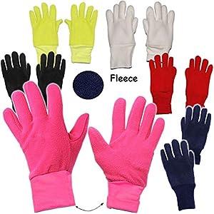 alles-meine.de GmbH Fleece Fingerhandschuhe –  NEON GRÜN  – Größe: 3 bis 4 Jahre – LEICHT anzuziehen ! – mit extra Langen Bündchen Kinder & Babyhandschuhe / Fleecehandschuhe – ..