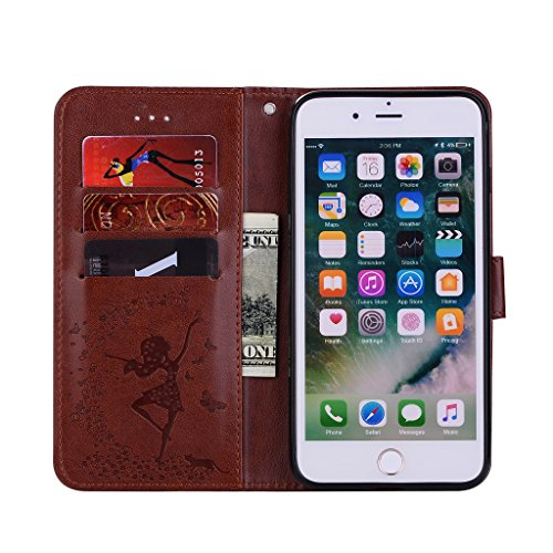 "IJIA Pur Embossage Rose Danseuse PU + TPU Doux Silicone Slot Magnetic Flip Cuir Portefeuille Dragonne ID Credit Card fonction Case Cover Coque Housse Etui pour Apple iPhone 7 Plus 5.5"" Brown"