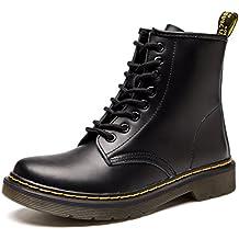 JACKSHIBO Damen Herren Klassischer Leder Knöchel Stiefel Boots Winter Warme Gefüttert Stiefeletten Schneestiefel