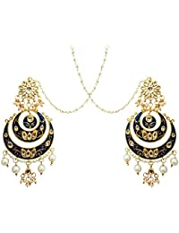 Mehrunnisa Traditional Gold Tone Kundan & Pearls Double Chand Bali Earrings With Kan Chain For Women (JWL1450)