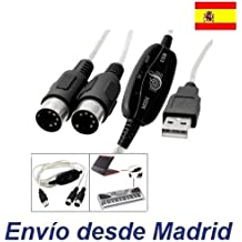 Cable Adaptador Interface MIDI USB para PC MAC 2m Interface Teclado Piano Organo