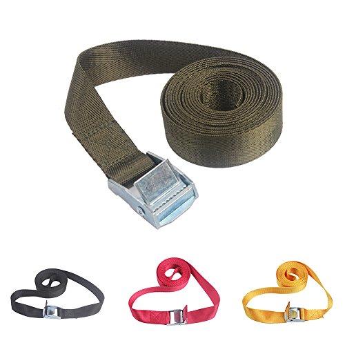 Nylon-Zurrgurt, für Autos, Gepäck, mit Metallschnalle für LKW, Fahrrad, Boot, Anhänger - breite Ratsche, Spanngurte Free Size Army Green 2m