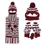 zyyaxky Bib Anzug Winter Niedlich Weibliche Hut Maske Wollmütze Mittelschule Student Handschuhe Schal Ein Dreiteiliger Anzug, 1