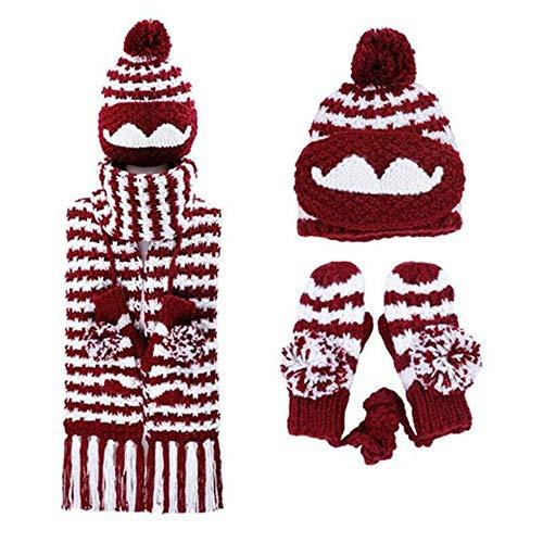 zyyaxky Bib Anzug Winter Niedlich Weibliche Hut Maske Wollmütze Mittelschule Student Handschuhe Schal EIN Dreiteiliger Anzug, 1 (Winter Handschuhe Thermische)