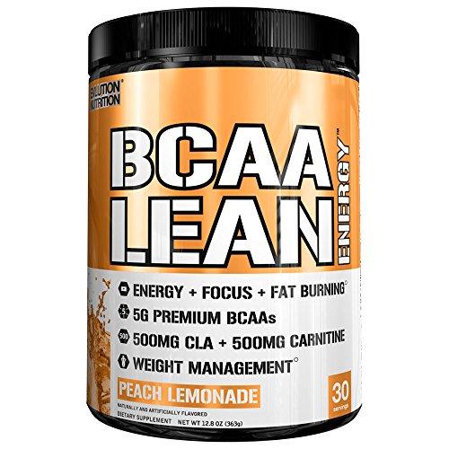 Evlution Nutrition BCAA Lean Energy - energetisierende Aminosäure für Muskelaufbau und Ausdauer, mit einer Fatburner Rezeptur, 30 Portionen (Pfirsich-Limonade)