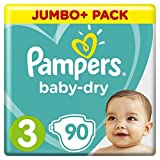 Pampers - Baby Dry - Couches Taille 3 (6-10 kg) - Jumbo+ Pack (x90 couches)
