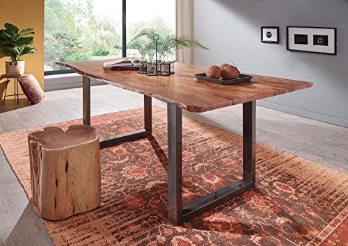 Table à manger 200x100cm - Bois massif d'acacia laqué (Fer brut/Bois naturel) - Design naturel - FREEFORM 3