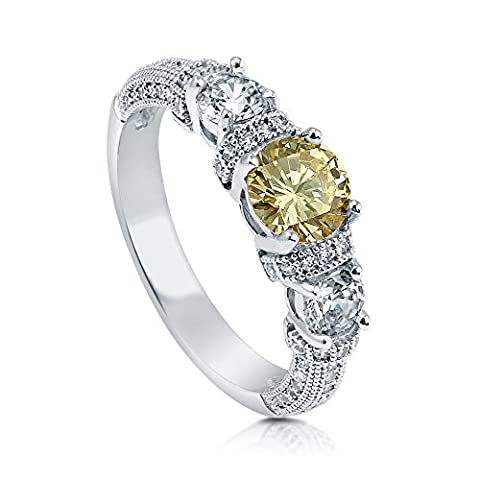 BERRICLE Rhodium Plated Sterling Silver Cubic Zirconia CZ 3-Stone Art Deco Promise Ring Size J