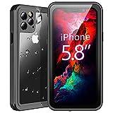 Temdan iPhone 11 Pro Hülle, IP68 Wasserdicht Transparent Stoßfest 360 Grad mit Eingebautem Bildschirmschutz Robust Armor Schutzhülle Handyülle für iPhone 11 Pro 5,8 Zoll 2019 (Schwarz+Klar)