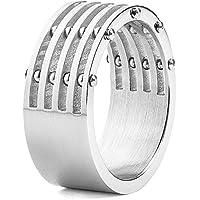 Acciaio inossidabile Uomo spazzolato 5 strati Split Ring con Bolt Accenti