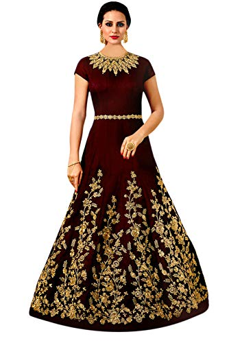 Shree Impex Women's Embroidered Taffeta Silk Anarkali Gown (FreeSize) (Maroon)