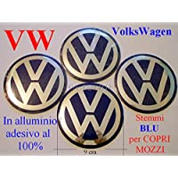 VOLKSWAGEN VW BLU Coprimozzi Tappi Cerchi Wheels 9 cm 90 mm GOLF POLO BEETLE FOX - Vw Fox