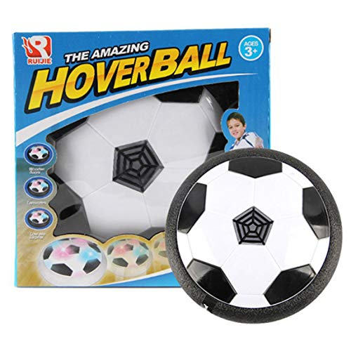 73JohnPol Lustige led-licht blinkende Kugel Spielzeug air Power fußball disc Indoor fußball Spielzeug Multi-Surface schwebenden gleiten Spielzeug (Farbe: weiß & schwarz) -