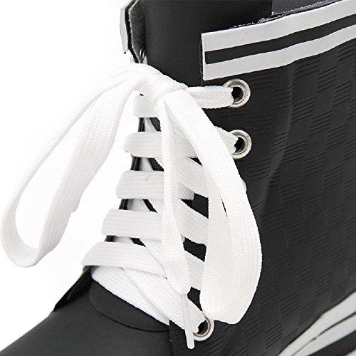 Lady Mode Regen Stiefel Flachboden Kautschuk Anti-Rutsch Wasserdicht Gummischuhe Black