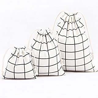 Aixin Natural Cotton and linen storage bags 3 Pieces Drawstring Bag for Kids Stuff Cute Reusable Storage Bag for Home or Arts Stuff or Travel (Square Yellow)