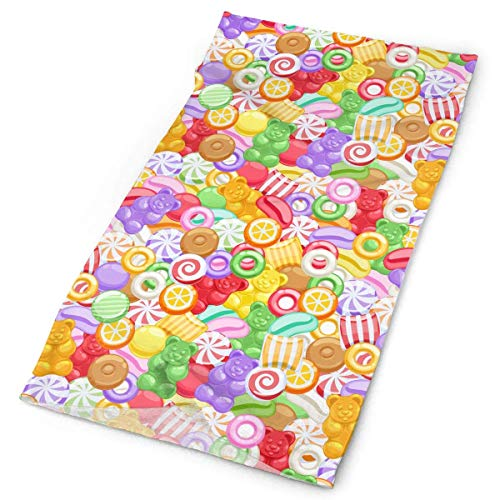 Pizeok Colorful Assorted Sweets Men Women Face Mask Neck Gaiter Sun Shade Shield Bandanas Headwear Wide Headbands Scarf Head Wrap Unisex13