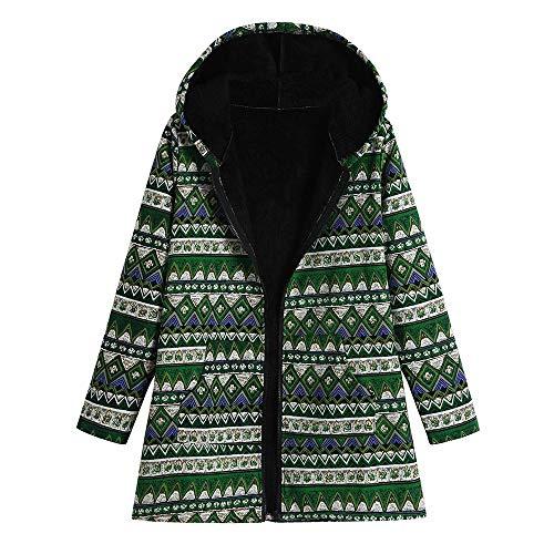 (iHAZA Blumenmuster Mantel mit Kapuze Damen Winter Warme Jahrgang Übergroße Mäntel)