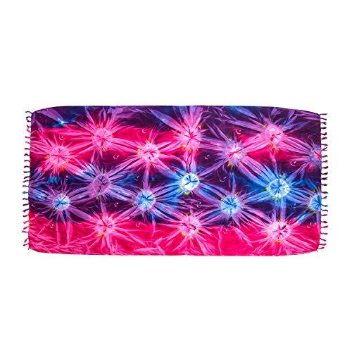 MANUMAR sarong donna non trasparente pareo telo da mare gonna portafoglio foulard leggero blu e lilla e rosa nel look batik XXL taglia forte 215x115