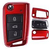 Klapp Schlüssel Hülle VW Golf 7 Polo Seat Leon Skoda Superb Octavia Metallic Rot