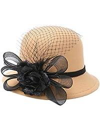 Demarkt 1 pcs Femme Chapeau Plumes Laine Imitation Fleur Gaze Bonnets d'hiver Chapeau pour Chaleureux Chapeau de Jazz Souple (Beige)