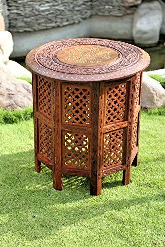Stylla London® Beistelltisch aus indischem Holz, handgeschnitzt, 53,3 cm, Sheesham Jali mit Messing- und Kupfereinlage, Telefonendtisch für Wohnzimmer, Flur, indische Möbel