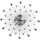 WWGZ Orologio da Parete in Metallo,Moderna Tonda Design Orologio di Diamanti,Decorazione Orologio da Parete Soggiorno e Camera da Letto-Silver 70x70cm(28x28inch)