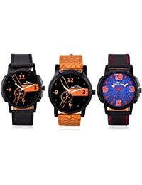 Latest Fashionable Casual / Formal Wacthes For Mens And Boys Combo Of 3 (Black, Brown And Black) By Meclow