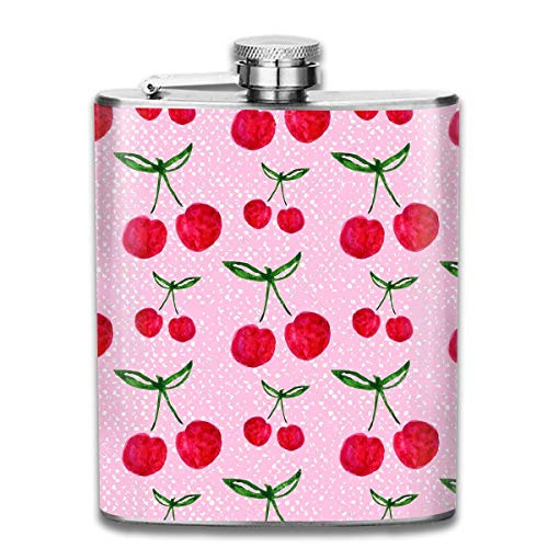 deyhfef Ripe Cherry Wine Water Hip Flask for Liquor Stainless Steel Bottle Alcohol 7oz