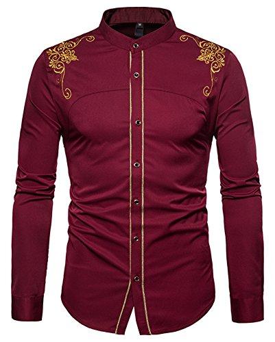 Whatlees Herren Gotik Hemd mit Golden aufgesticktes Design und Stehkragen - B964-burgundy - M