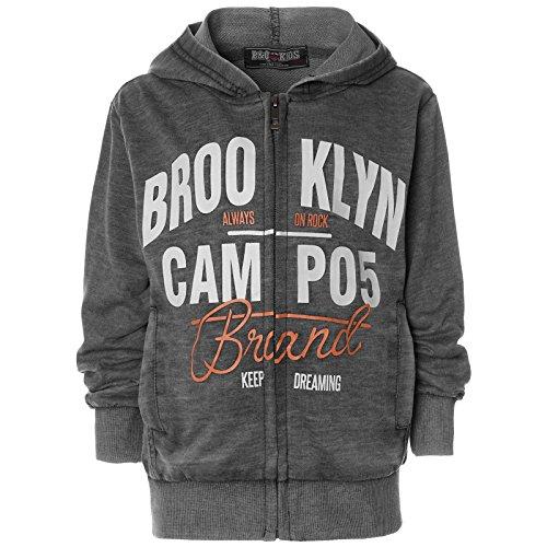 Kinder Jungen Hoodie Kapuze Pullover Sweatshirt Sweatjacke 21658, Farbe:Schwarz, Größe:140