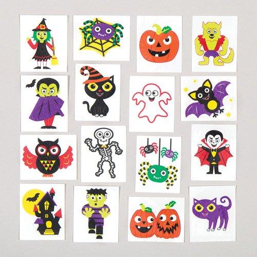 Tatouages temporaires d'Halloween pour enfant. À glisser dans les pochettes-surprises des enfants lors des fêtes (Lot de 24). 5051174066199