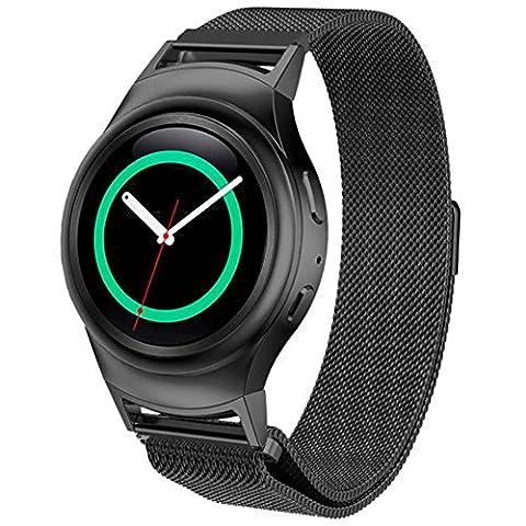Hansee Bracelet moderne en acier inoxydable pour montre + connecteur pour Samsung Galaxy S2 RM-720, outils de réparation inclus, adulte mixte, noir