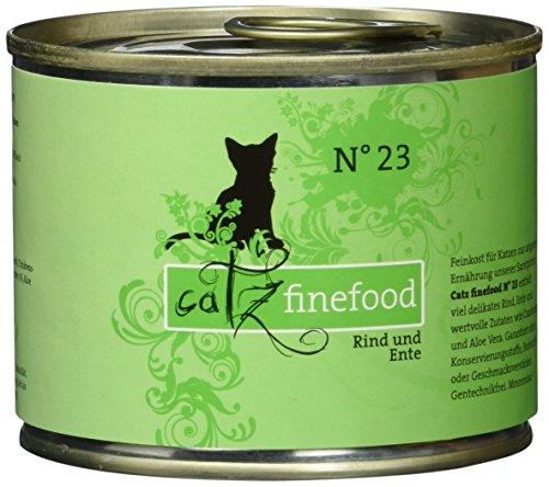 catz finefood N° 23 Rind & Ente Feinkost Katzenfutter nass, verfeinert mit Cranberry & Aloe Vera, 6 x 200g Dosen -