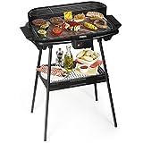Barbecue elettrico Princess 112247 - Dotato di supporto - Grandi dimensioni 47 x 28 cm, Nero
