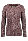 DESIRES Phia Damen Winter Strickpullover Troyer Grobstrick Pullover, Größe:L, Farbe:Wine Red Melange (8985)
